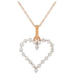 LB Exclusive LB Exclusive 14K Gold 0.33 Carat Diamond Heart Pendant Necklace