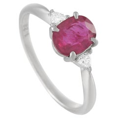 LB Exclusive Platinum 0.09 Carat Diamond and 1.20 Carat Ruby Ring