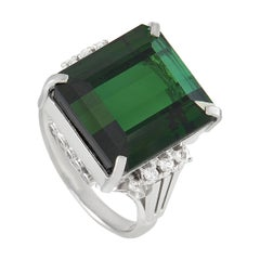 LB Exclusive Platinum 0.09 Ct Diamond and Tourmaline Ring