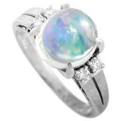 LB Exclusive Platinum 0.10 Carat Diamond and Opal Ring