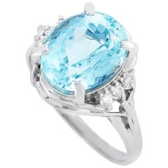 LB Exclusive Platinum 0.12 Carat Diamond and Aquamarine Ring