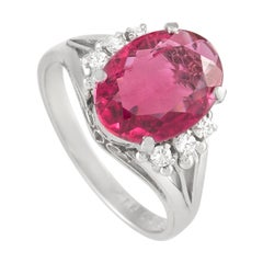 LB Exclusive Platinum 0.12 Ct Diamond and Tourmaline Ring