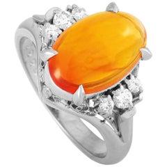 LB Exclusive Platinum 0.15 Carat Diamond and Opal Ring