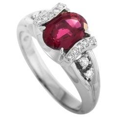 LB Exclusive Platinum 0.15 Carat Diamond and Tourmaline Ring