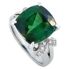 LB Exclusive Platinum 0.21 Carat Diamond and Tourmaline Ring