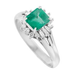 LB Exclusive Platinum 0.22 Ct Diamond and Emerald Ring