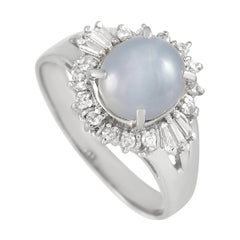 LB Exclusive Platinum 0.22 Ct Diamond and Star Sapphire Ring