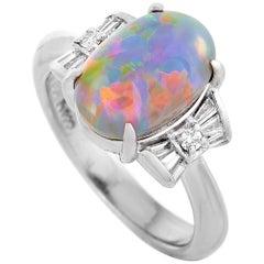 LB Exclusive Platinum 0.23 Carat Diamond and Opal Ring