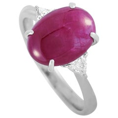 LB Exclusive Platinum 0.23 Carat Diamond and Ruby Ring
