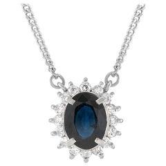LB Exclusive Platinum 0.24 Carat Diamond and Sapphire Pendant Necklace