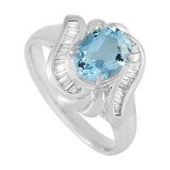 LB Exclusive Platinum 0.24 Ct Diamond and Aquamarine Ring