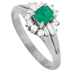 LB Exclusive Platinum 0.25 Ct Diamond and Emerald Ring