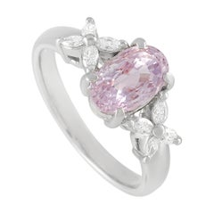 LB Exclusive Platinum 0.25 Ct Diamond and Pink Sapphire Ring