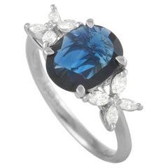 LB Exclusive Platinum 0.26 Ct Diamond and Sapphire Ring