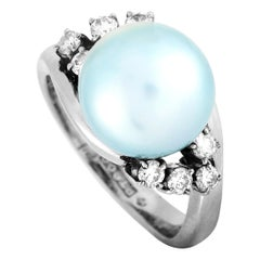 LB Exclusive Platinum 0.28 Carat Diamond and Pearl Ring