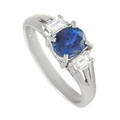 LB Exclusive Platinum 0.29 Ct Diamond and Sapphire Ring
