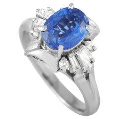 LB Exclusive Platinum 0.29 Ct Diamond and Sapphire Ring