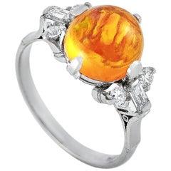 LB Exclusive Platinum 0.30 Carat Diamond and Opal Ring