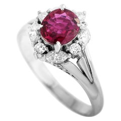 LB Exclusive Platinum 0.30 Carat Diamond and Ruby Ring