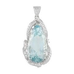 LB Exclusive Platinum 0.30 Ct Diamond and 34.80 Ct Aquamarine Pendant
