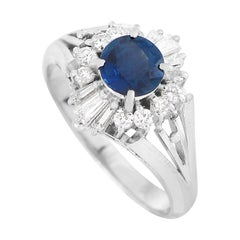 LB Exclusive Platinum 0.30 Ct Diamond and Sapphire Ring