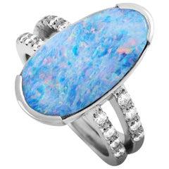 LB Exclusive Platinum 0.32 Carat Diamond and Opal Ring