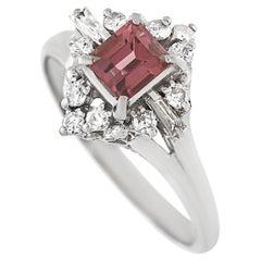 LB Exclusive Platinum 0.33 Ct Diamond 0.75 ct Tourmaline Ring