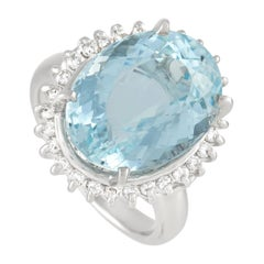 LB Exclusive Platinum 0.36 Ct Diamond and Aquamarine Ring