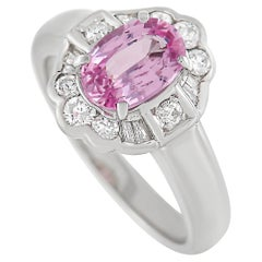 LB Exclusive Platinum 0.36 Ct Diamond and Pink Sapphire Ring