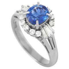 LB Exclusive Platinum 0.36 ct Diamond and Sapphire Ring