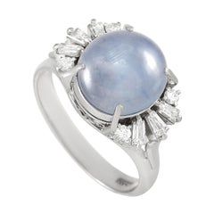 LB Exclusive Platinum 0.36 Ct Diamond and Star Sapphire Ring
