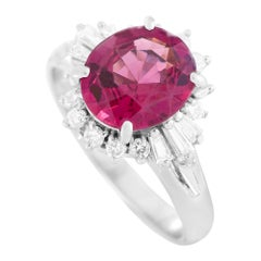 LB Exclusive Platinum 0.36 Ct Diamond and Tourmaline Ring