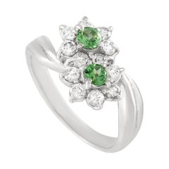 LB Exclusive Platinum 0.36 Ct Diamond and Tsavorite Ring