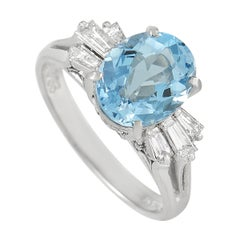LB Exclusive Platinum 0.38 Ct Diamond and Aquamarine Ring