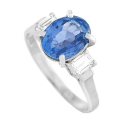 LB Exclusive Platinum 0.39 Ct Diamond and Sapphire Ring