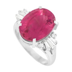 LB Exclusive Platinum 0.39 Ct Diamond and Tourmaline Ring