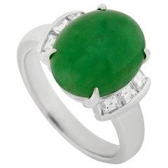 LB Exclusive Platinum 0.40 Carat Diamond and 5.15 Carat Jade Ring