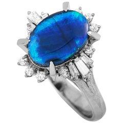LB Exclusive Platinum 0.40 Carat Diamond and Opal Ring