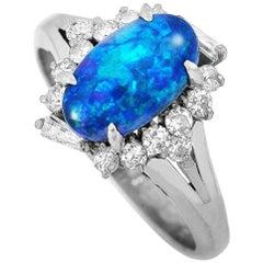 LB Exclusive Platinum 0.42 Carat Diamond and Opal Ring