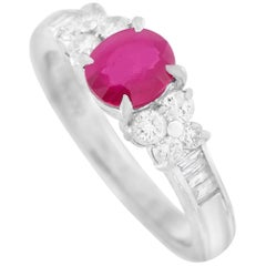LB Exclusive Platinum 0.43 Carat Diamond and 1.00 Carat Ruby Ring