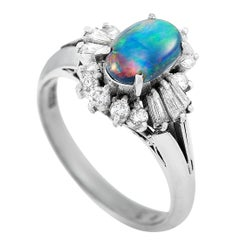 LB Exclusive Platinum 0.43 Carat Diamond and Opal Oval Ring