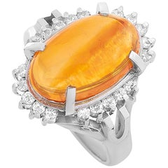 LB Exclusive Platinum 0.43 Carat Diamond and Opal Ring