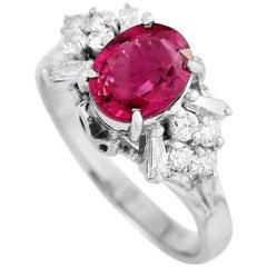 LB Exclusive Platinum 0.43 Carat Diamond and Tourmaline Ring