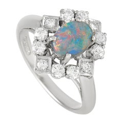 LB Exclusive Platinum 0.43 Ct Diamond and Black Opal Ring