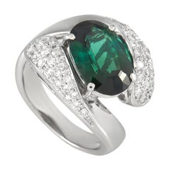 LB Exclusive Platinum 0.43 Ct Diamond and Tourmaline Ring