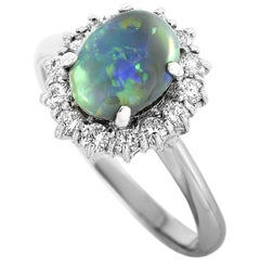 LB Exclusive Platinum 0.44 Carat Diamond and Opal Ring
