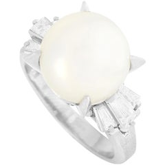 LB Exclusive Platinum 0.44 Carat Diamond and Pearl Ring