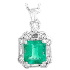 LB Exclusive Platinum 0.45 Carat Diamond and Emerald Necklace