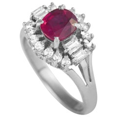 LB Exclusive Platinum 0.45 Carat Diamond and Ruby Ring
