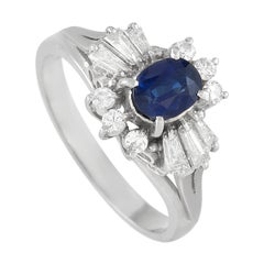 LB Exclusive Platinum 0.45 Ct Diamond and Blue Sapphire Ring
